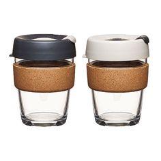 Coffee to go Becher aus Glas mit Grifffläche aus Kork - Limited Edition - Large 340ml
