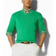 Ralph Lauren Round Neck Green Sweaters Mesh Men http://www.ralph-