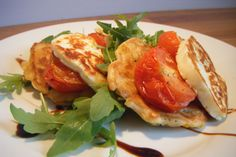 Sweetcorn Fritters with grilled hallumi and roasted tomatoes