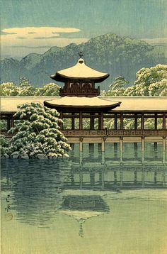 Japanese palace, temple in snow art print, Heian Shrine by Hasui Kawase, woodblock print