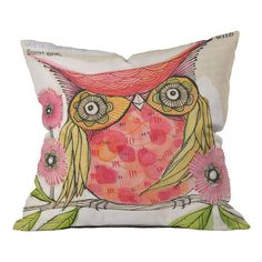 DENY Designs pillow showcasing a vibrant perched owl motif by artist Cori Dantini.    Product: PillowConstruction Mat...