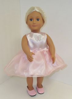 Elizabeth is wearing her Spring dress in soft pastel pink satin and organza embellished with a sparkly butterfly and bows. Chloe's Closet, Pink Satin, Pastel Pink, Doll Clothes, Flower Girl Dresses, Butterfly, Bows, Wedding Dresses, Spring