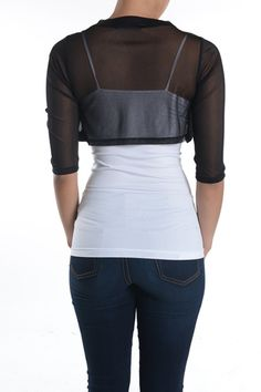 Fashion Secrets Junior`s Sheer Chiffon Bolero Shrug Jacket Cardigan 3/4 Sleeve (X-Small, Black)