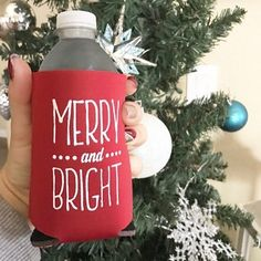 """Any lucky Christmas lovers find one of these adorable """"Merry & Bright"""" drink koozies in your CHRISTMAS CRATE this month? Just a little token of our appreciation for sharing us with your friends this year! Want a set? We've got em' up in our shop with free US shipping! Tap the link in our bio and grab a few extra"""