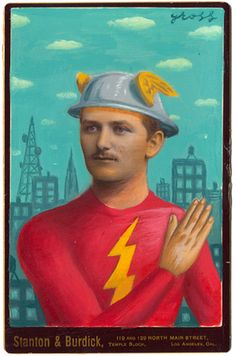 Alex Gross paints on old cabinet cards
