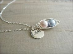 Blue & pink mom necklace