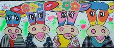 Schilderij 'Vrolijke Koeien' acrylverf op doek 124 x 45 cm.