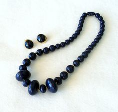 Vintage 1960's Navy Blue Plastic Choker Necklace & by retrogroovie, $18.50