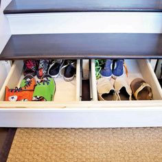 Reader Project: Hidden Staircase Drawer Check out this great project for hidden stair drawers from one of our readers. Building them is much easier than you think and it takes up previously unused space. Shoe Box Storage, Cord Storage, Stair Storage, Hidden Storage, Storage Organization, Storage Spaces, Storage Ideas, Storage Drawers, Organizing