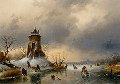 Charles Leickert (1818-1907) - Winters Landschap met schaatsers op het ijs (1870)