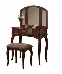 Furniture Of America Jade 2 Piece Solid Wood Vanity Table