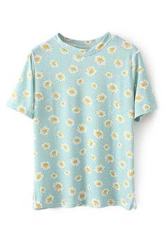 abaday Daisy Print Short Sleeves Light-blue T-shirt - Fashion Clothing, Latest Street Fashion At Abaday.com