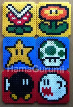 Super Mario Bros coasters Hama Beads by Hamagurumi