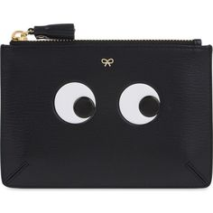 ANYA HINDMARCH Eye small leather pouch (355 AUD) ❤ liked on Polyvore featuring bags, handbags, clutches, accessories, black, real leather handbags, leather handbags, leather purse, genuine leather purse and zipper handbag