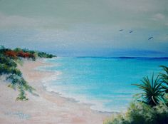 Turquoise and Pink  A Bermuda Beach on Etsy, $95.00