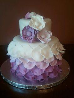 Purple Ombre Ruffle & Flower  Cake