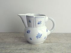 White Vintage Porcelain Pitcher decorated with by OldTimeGoods, $32.00