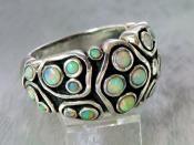 Zilveren edelsteen ring met natuurlijke Opalen