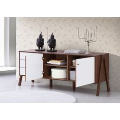 Baxton Studio Harlow Mid-century Modern Scandinavian Style White and Walnut Wood Sideboard Storage Cabinet - Free Shipping Today - Overstock.com - 17839047 - Mobile