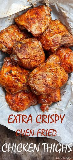 These oven-fried chicken thighs are extra crispy on the outside and very tender and juicy on the inside. There isn't a more succulent baked chicken thigh than this. They are like deep-fried chicken thighs, only without a mess and all the added calories. Crispy Oven Fries, Crispy Oven Fried Chicken, Fried Chicken Recipes, Fries In The Oven, Meat Recipes, Cooking Recipes, Fried Chicken Marinade, Chicken Fried Chicken, Easy Chicken Thigh Recipes Baked