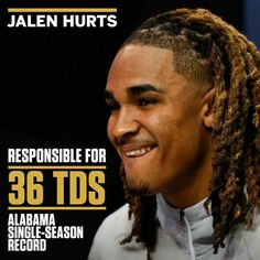 Jalen Hurts, Bama's QB, is a class act and we are so proud to have him as part of our Crimson Tide! 🐘 Jalen always stays calm, cool and collected, no matter what he faces 😎 He loves the Lord too! Alabama Football Quotes, Sec Football, Crimson Tide Football, Best Football Team, Alabama Crimson Tide, Football Wall, College Football, Alabama Athletics, Bama Fever