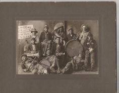 Antique 1900's Photograph Brass Band Si Higgins Barn Dance Tramp Clown Ragtime