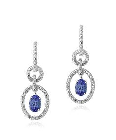 Take a look at this Tanzanite, Diamond & Sterling Silver Oval Drop Earrings on zulily today!