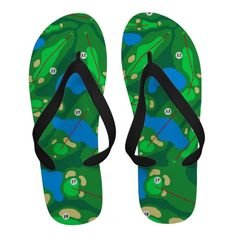 Colorful Golf Course Map Sandals. #golf #golfcourse #flipflops
