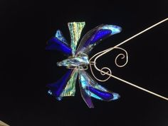 Open Butterfly Pendant. One of local glass artist's signature designs using premium Dichroic Glass. Gift boxed & Organza Bag. Fast Shipping.