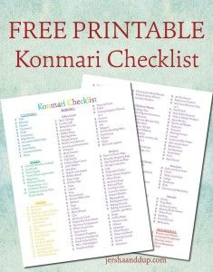 konmari-checklist - to help unclutter your home
