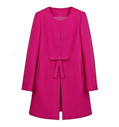 Scoop Long Sleeves Bowknot Loose Mid-length Wool Coat