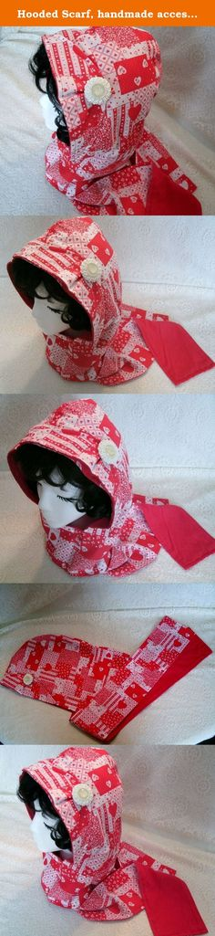 Hooded Scarf, handmade accessory, clothing, boho, bohemian, rockabilly, pin up, hippie, victorian, edwardian. This beautiful hooded scarf is made from a lovely cotton heart print with red flannel lining. It's light weight and soft texture makes it suitable for varying temperatures, business settings, everyday wear and evening wear. It has a pleat on the hood with a very beautiful beaded pin embellishment.