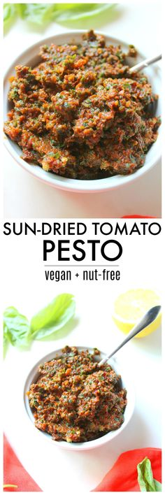 Vegan Sun-Dried Tomato Pesto - This Savory Vegan Vegan Sauces, Vegan Foods, Vegan Dishes, Veggie Recipes, Whole Food Recipes, Vegetarian Recipes, Healthy Recipes, Zone Recipes, Healthy Food