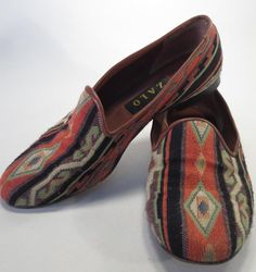Zalo Kilim Tapestry Rust Green Leather Loafers - Size 8 Spain * #Zalo #LoafersMoccasins #Casual