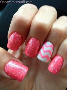 Pink Chevron nails, man I miss getting my nails done! Fancy Nails, Love Nails, How To Do Nails, Pretty Nails, Style Nails, Pink Chevron Nails, Pink Glitter, Pink Nail, Glitter Chevron