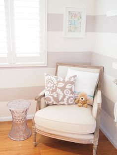 light colored gray striped walls.  Rylee would like this