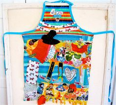 Wearable FOLK Art Collage APRON Dog Food Colorful Altered Fabric Quilt  Assemblage by My Bonny