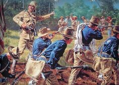 American troops in battle in the Philipines