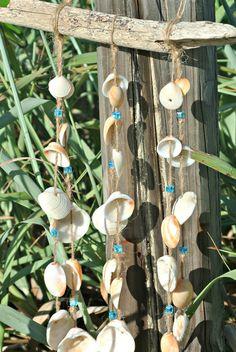 Driftwood Seashell Windchime Natural Mobile Nautical Crystal