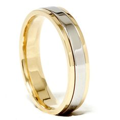 classic two tone wedding ring features a platinum center and bordered by 18k yellow gold.  The ring measures 4mm wide and has rounded inside edges to give your finger more comfort, comfort fit.