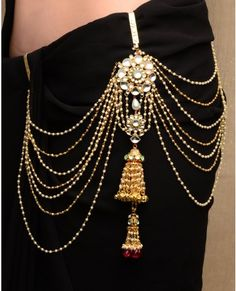 Pearl Tasseled Sari Belt with Jhumki Drop Fashion and Designer Style Waist Jewelry, Body Jewelry, Face Jewellery, Tribal Fusion, Saree With Belt, Saree Belt, Indian Dresses, Indian Outfits, Bridal Accessories