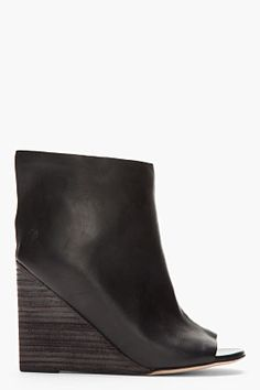Marsell, Black Leather 'Muro' Layered Open-Toe Wedge Boots
