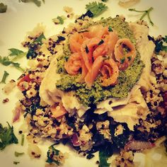 Reused my quinoa and pesto with a lemon garlic tilapia and smoke salmon curls