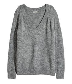 Check this out! Oversized sweater in a soft knit. Low-cut V-neck, long raglan sleeves, and ribbing at neckline, cuffs, and hem. - Visit hm.com to see more.