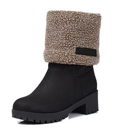 Aisun Womens Warm Comfort Round Toe Platform Low Heels Slip On Winter Snow Ankle Boots Black 6 BM US * Check out this great product.(This is an Amazon affiliate link and I receive a commission for the sales)