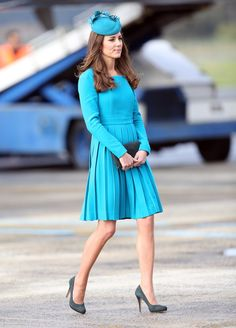 """Pin for Later: Kate Middleton Halloween Costumes For the Royal-Obsessed Classic Kate Nothing says """"Kate Middleton"""" quite like a simple, tailored dress and a fascinator in the same color."""