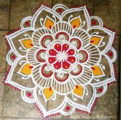 Rangoli Designs Latest, Rangoli Designs Flower, Colorful Rangoli Designs, Rangoli Designs Diwali, Rangoli Designs Images, Kolam Rangoli, Flower Rangoli, Beautiful Rangoli Designs, Padi Kolam