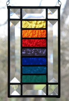 Stained Glass Rainbow Colors Suncatcher by BrightMoonDesigns