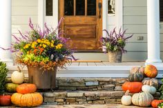 Front Porches That Have Us So Ready for Fall - Southernliving. Mug of cider not included.   We're dreaming of long fall afternoons spent sipping cider on the porch, bundled in scarves and blankets, reading a great book, watching the leaves change colors and drop, crisp and crunching, to the ground. Autumn can't arrive fast enough. That's why we can't tear our eyes away from these pretty front porches that are all decked out and ready for fall festivities. Each autumnal container garden and…