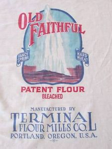 "Old Faithful Portland Oregon Full Flour Sack Feedsack 42 3 4"" x 36 1 2"" | Vintageblessings"